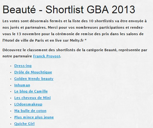 SHORTLISTES GBA 2013 BEAUTE